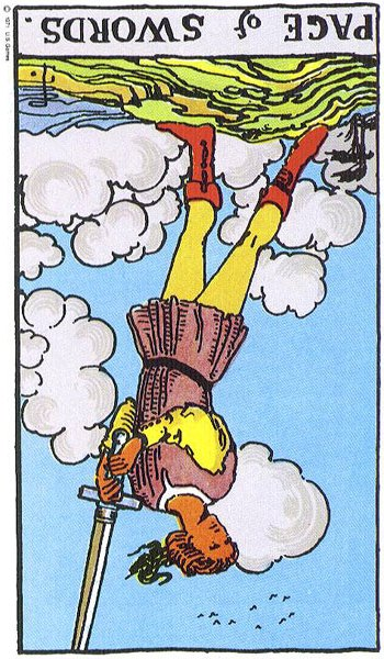 Cards for the Day: Reversed Page of Swords/Reversed Knight
