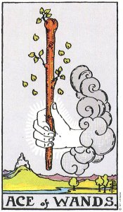 Ace of Wands--Rider-Waite tarot