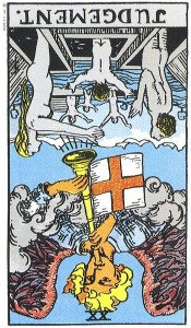 Judgement, reversed (Rider-Waite tarot card)