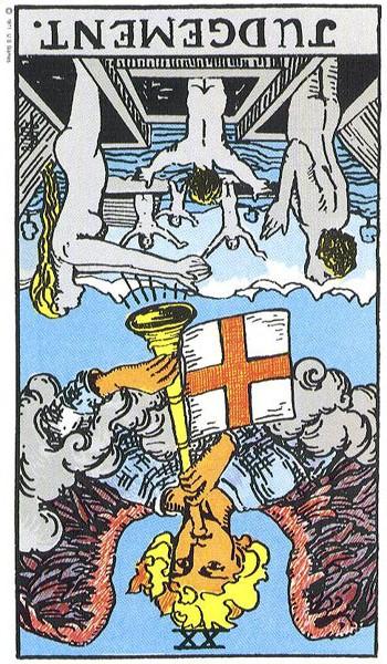 Judgement, reversed (Rider-Waite tarot card)