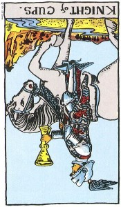 Knight of Cups reversed--Rider-Waite tarot
