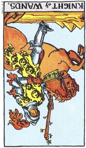 Knight of Wands reversed--Rider-Waite tarot
