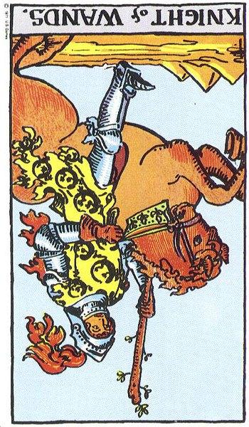 Knight of Wands reversed--Rider-Waite tarot
