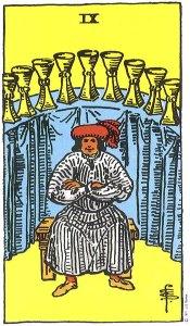 Nine of Cups--Rider-Waite tarot