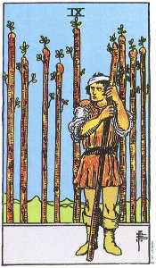 Nine of Wands--Rider Waite tarot