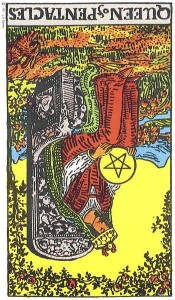 Queen of Pentacles reversed--Rider-Waite tarot
