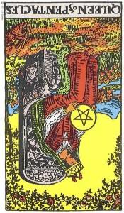Queen of Pentacles reversed--Rider-Waite tarot