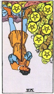Seven of Pentacles reversed--Rider-Waite tarot