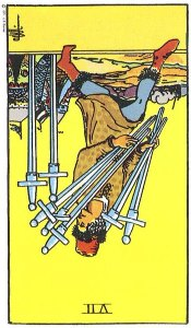 Seven of Swords reversed--Rider-Waite tarot
