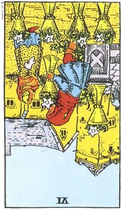 Six of Cups reversed--Rider-Waite tarot
