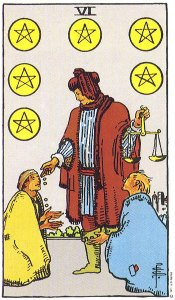Six of Pentacles--Rider-Waite tarot