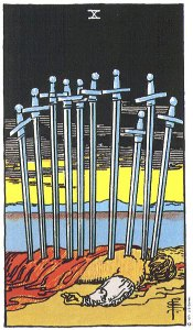 Ten of Swords tarot (Rider-Waite) card