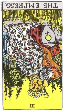 The Empress reversed--Rider-Waite tarot