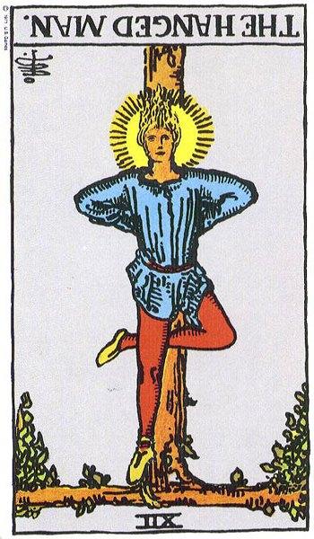 The Hanged Man reversed--Rider-Waite tarot