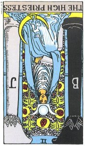 The High Priestess reversed--Rider-Waite tarot