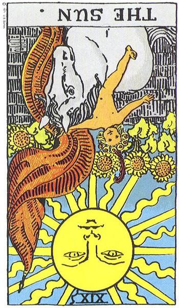 The Sun reversed--Rider-Waite tarot