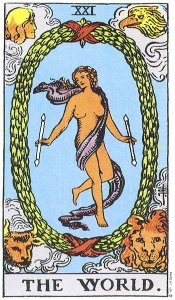The World tarot (Rider-Waite) card