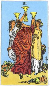 Three of Cups--Rider-Waite tarot