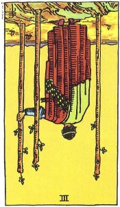 Three of Wands reversed--Rider-Waite tarot