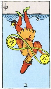 Two of Pentacles reversed--Rider-Waite tarot