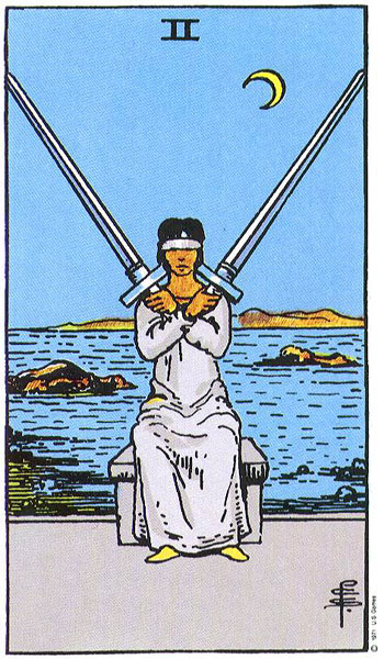 Two of Swords--Rider-Waite tarot