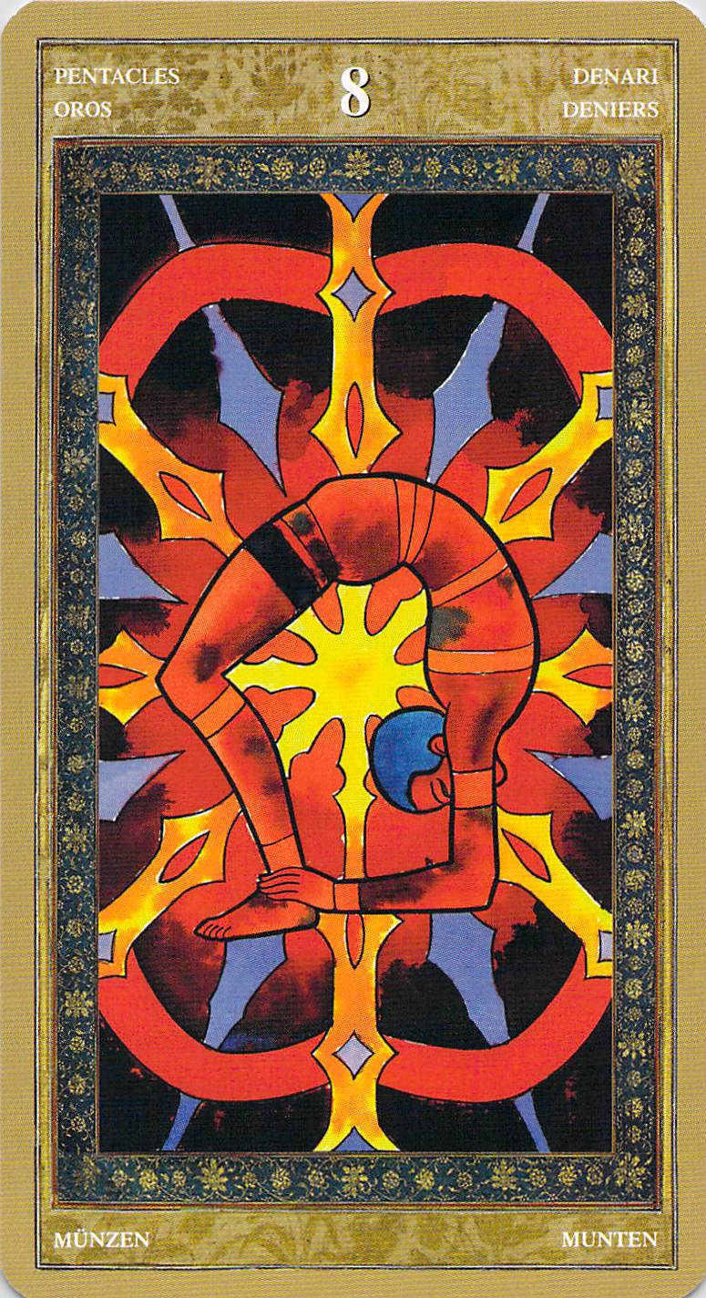 Eight of Pentacles--Yoga Tarot by Lo Scarabeo