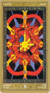 Eight of Pentacles reversed--Yoga Tarot by Lo Scarabeo