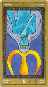 Eight of Swords reversed--Yoga Tarot