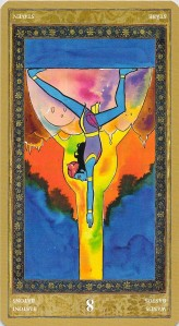 Eight of Wands reversed--Yoga Tarot by Lo Scarabeo