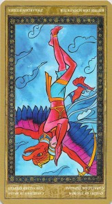 Knight of Swords reversed--Yoga Tarot by Lo Scarabeo