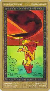 Knave of Pentacles reversed--Yoga Tarot by Lo Scarabeo