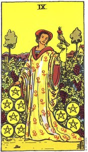 Nine of Pentacles--Rider-Waite