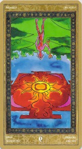 Six of Pentacles reversed--Yoga Tarot