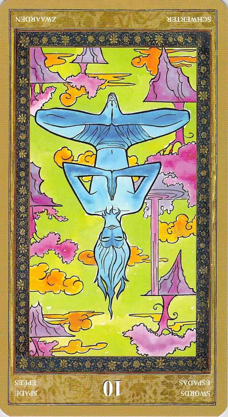 Ten of Swords reversed--Yoga Tarot by Lo Scarabeo