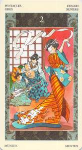 Two of Pentacles--Samurai Tarot