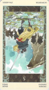 Five of Swords reversed--Samurai Tarot