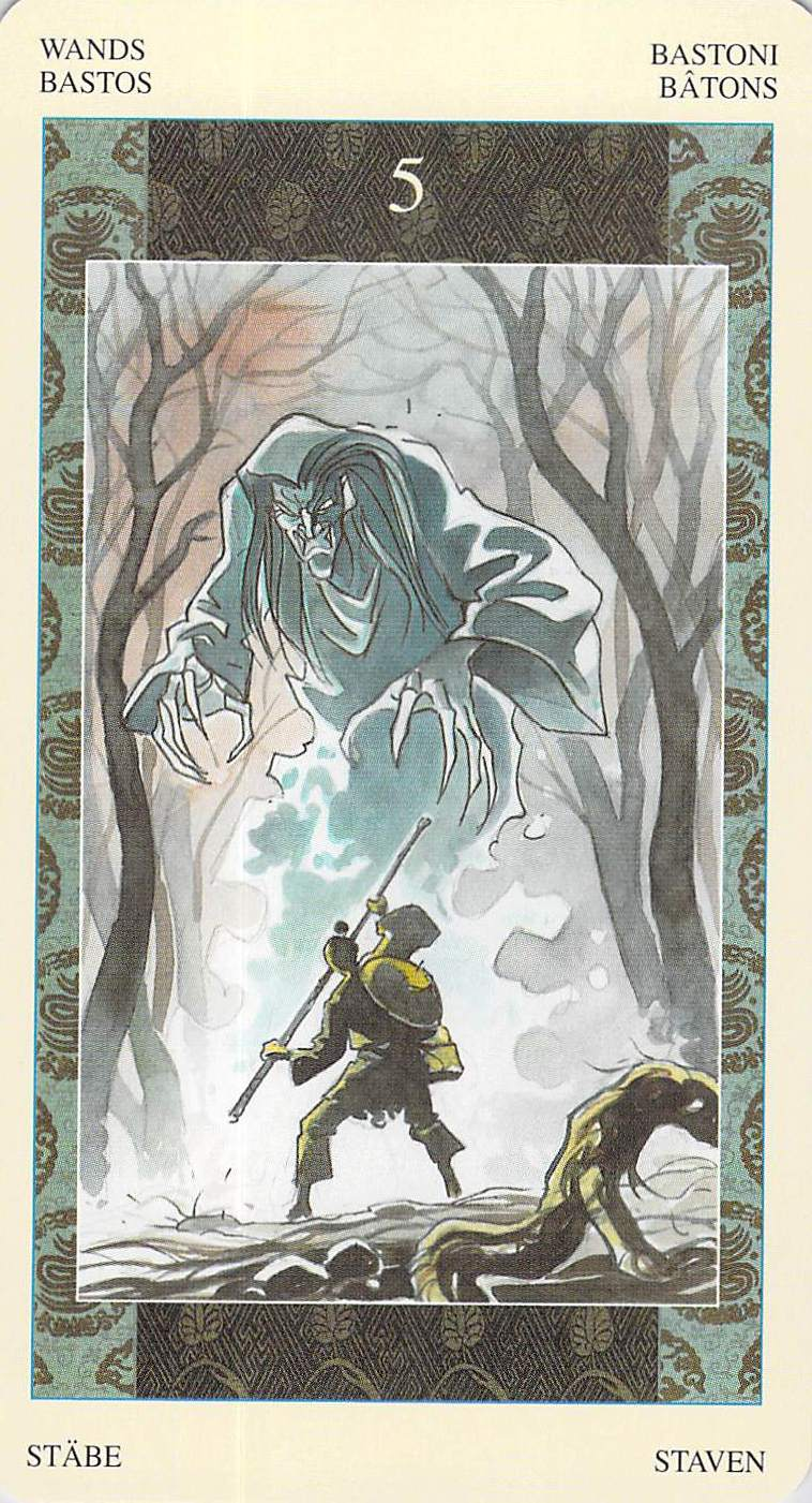 Five of Wands--Samurai Tarot