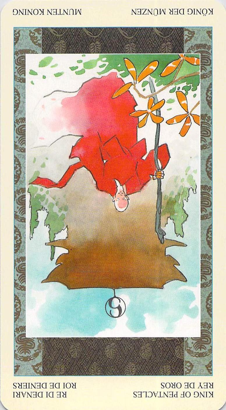 King of Pentacles reversed--Samurai Tarot