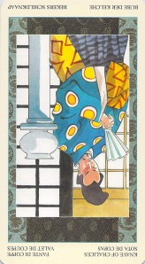Knave of Chalices reversed--Samurai Tarot