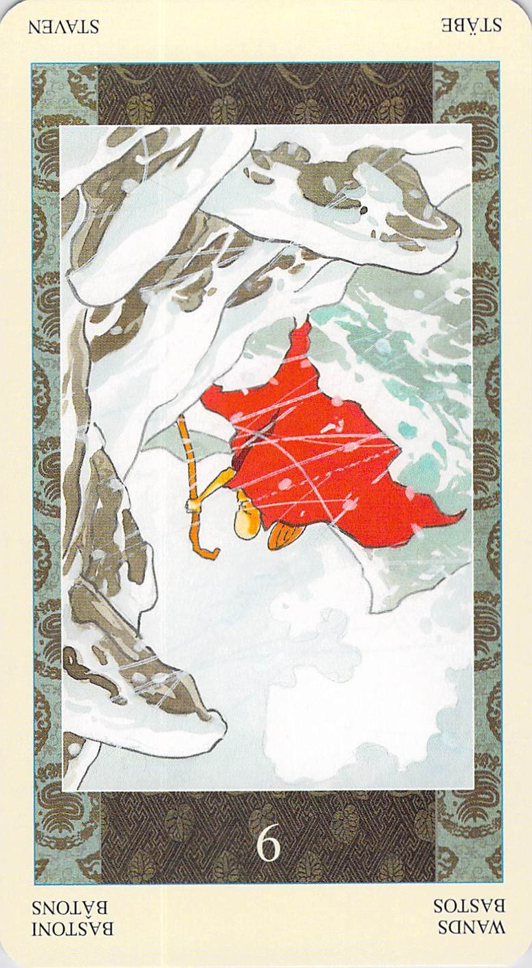 Nine of Wands reversed--Samurai Tarot