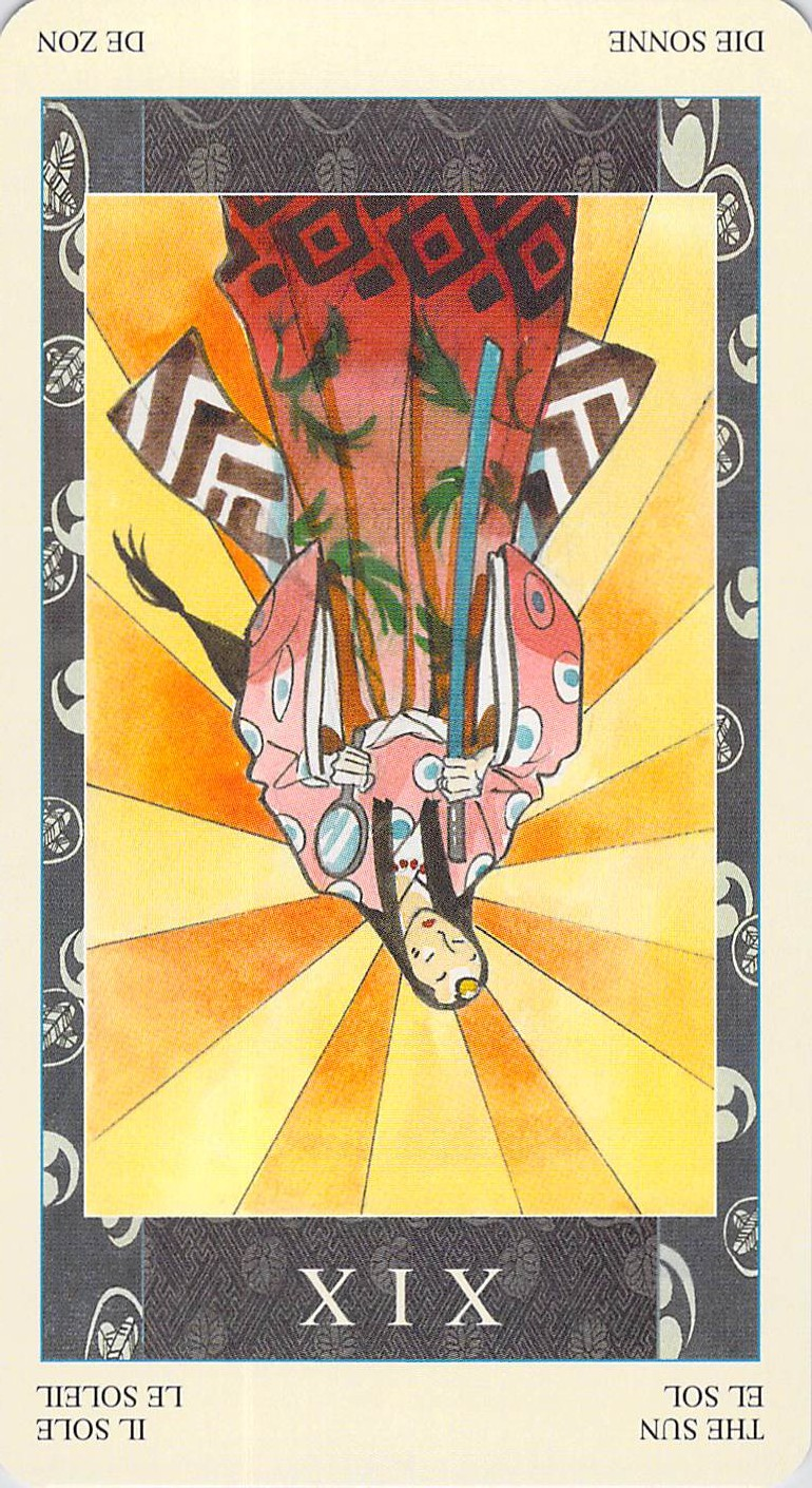 The Sun reversed--Samurai Tarot