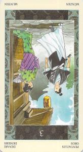 Three of Pentacles reversed--Samurai Tarot