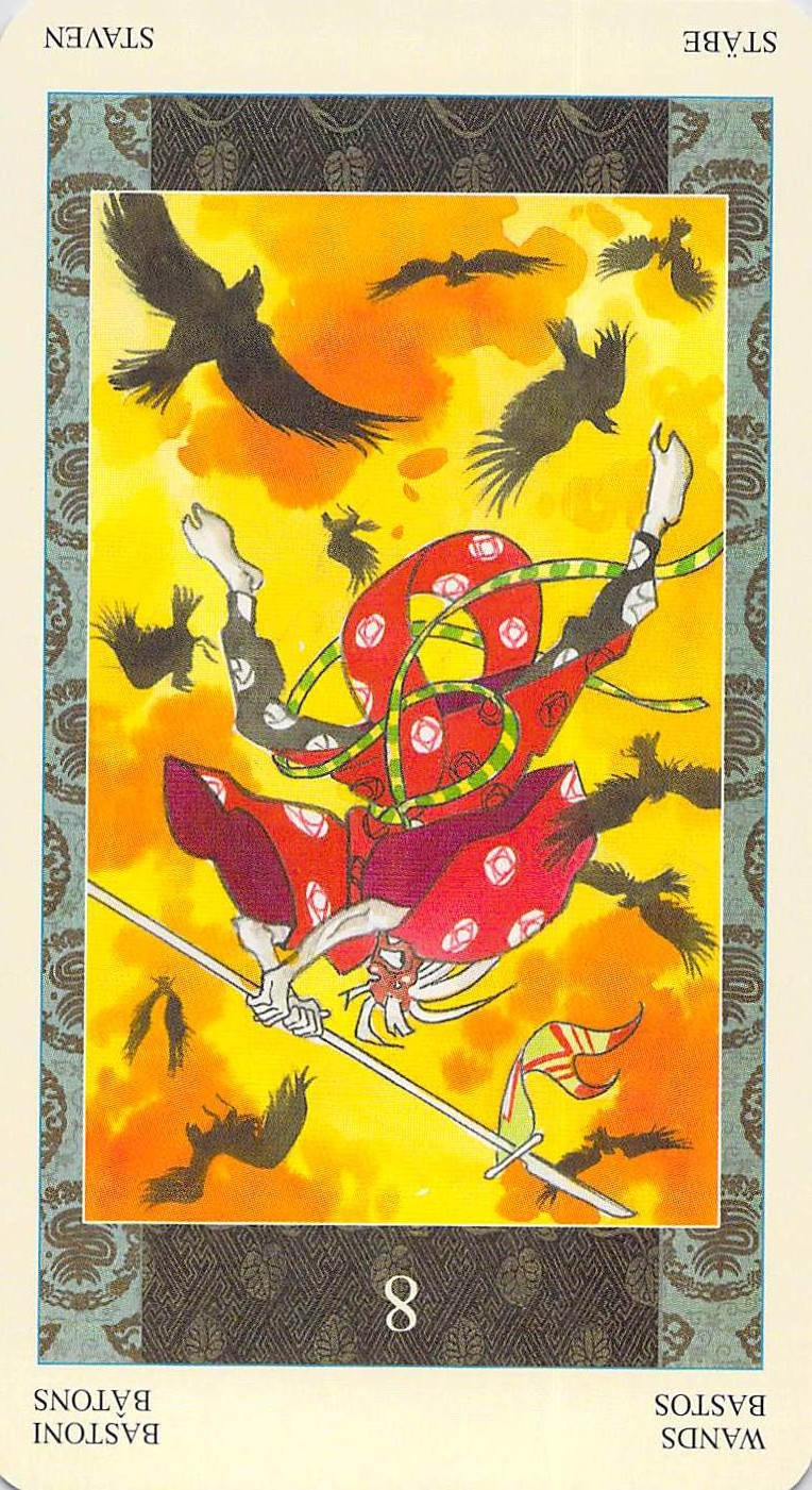 Eight of Wands reversed--Samurai Tarot