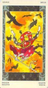 Eight of Wands reversed--Samurai Tarot
