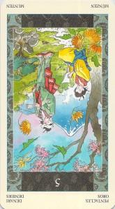 Five of Pentacles reversed--Samurai Tarot