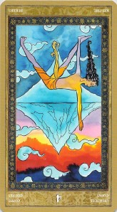 Four of Chalices reversed--Yoga Tarot