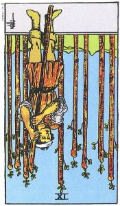 Nine of Wands reversed--Rider-Waite