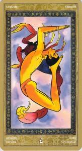 Seven of Pentacles reversed--Yoga Tarot