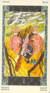 Seven of Wands reversed--Samurai Tarot