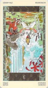 Three of Swords reversed--Samurai Tarot